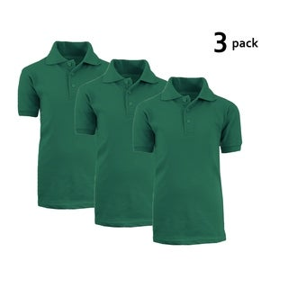 Galaxy By Harvic Boy's Hunter Green Short Sleeve School Uniform Polo Shirts - 3 PACK - Sizes 4-20