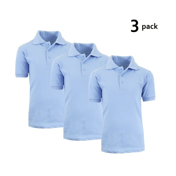 37bbb726720c Shop Galaxy By Harvic Boy's Light Blue Short Sleeve School Uniform Polo  Shirts - 3 PACK - Sizes 4-20 - On Sale - Free Shipping Today - Overstock -  21901478