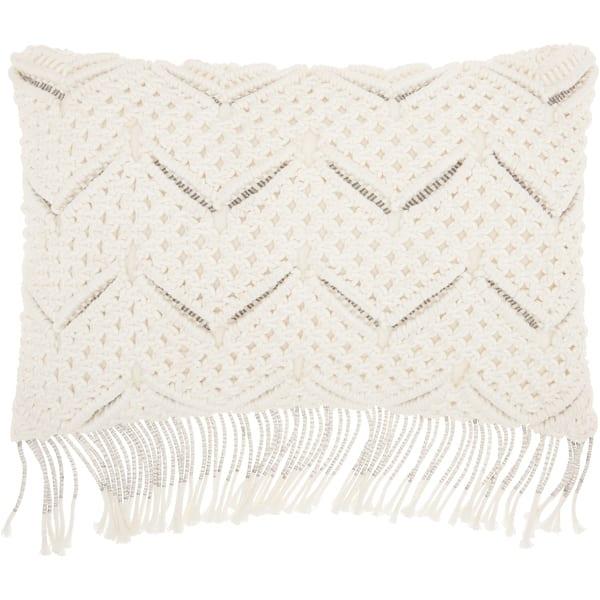 Astonishing Mina Victory White Macrame Chevron Throw Pillow 12 Inch X 20 Inch Uwap Interior Chair Design Uwaporg