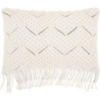 Mina Victory White Macrame Chevron Throw Pillow (12-Inch X 20-Inch)