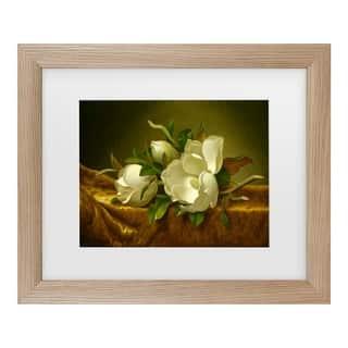 Martin Johnson Heade 'Magnolias On Gold' Matted Framed Art