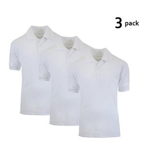 Galaxy By Harvic Boy's White Short Sleeve School Uniform Polo Shirts - 3 PACK - Sizes 4-20