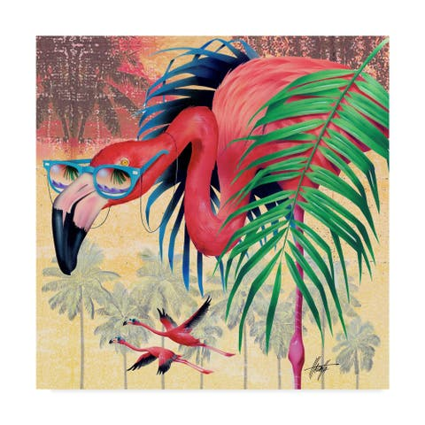 Porch & Den James Mazzotta 'Cool Flamingoes' Canvas Art