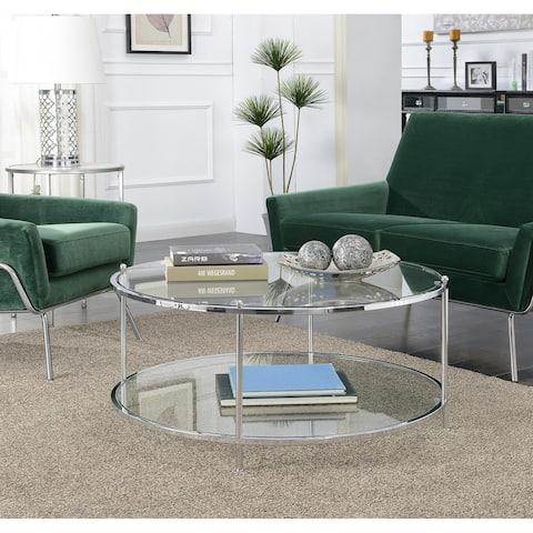 Silver Orchid Farrar Glass 2-tier Round Coffee Table