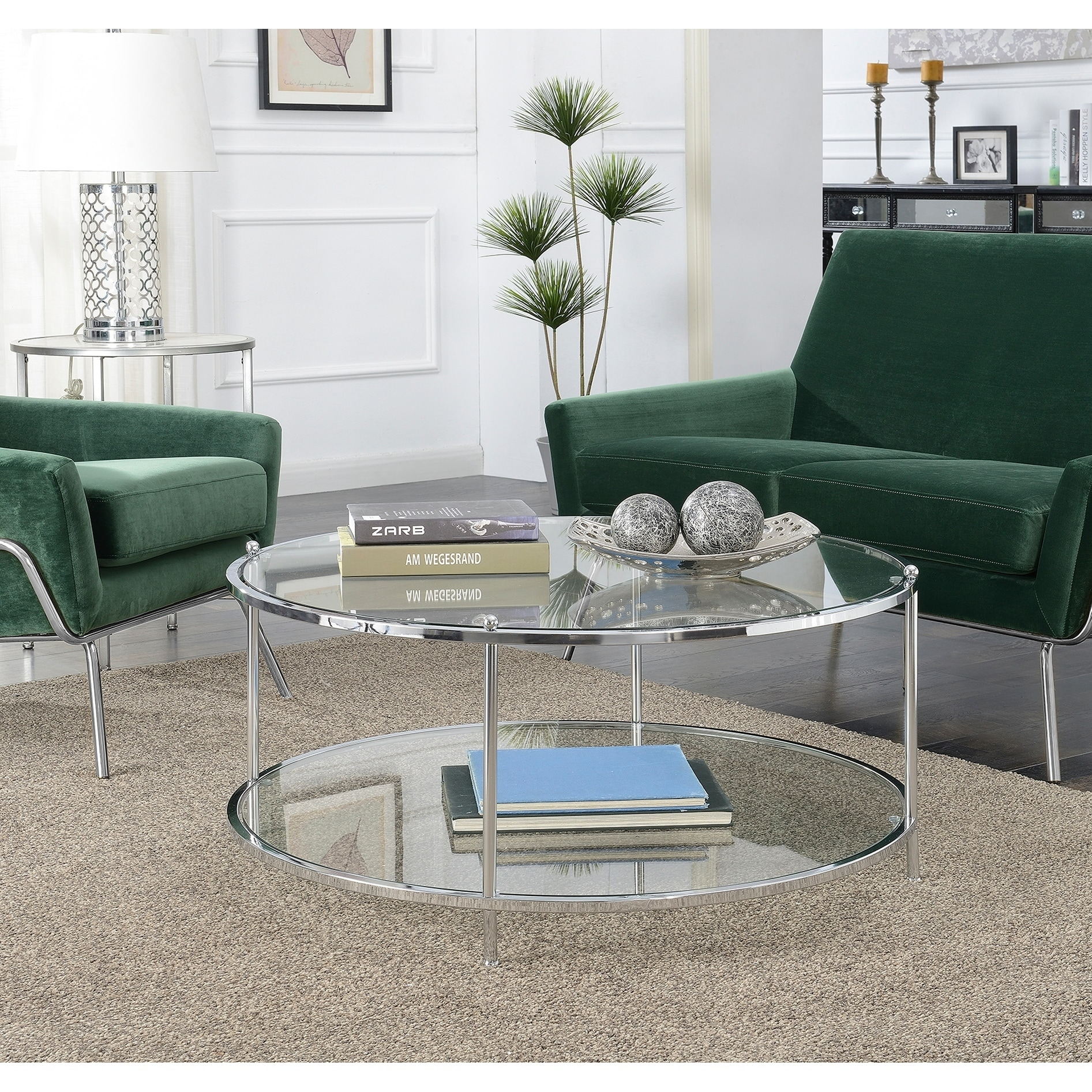 Convenience Concepts Royal Crest Glass 2 Tier Round Coffee Table