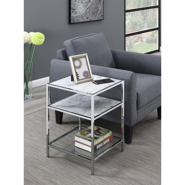 Convenience Concepts Gold Coast Carrara Chrome Finish and Glass End Table