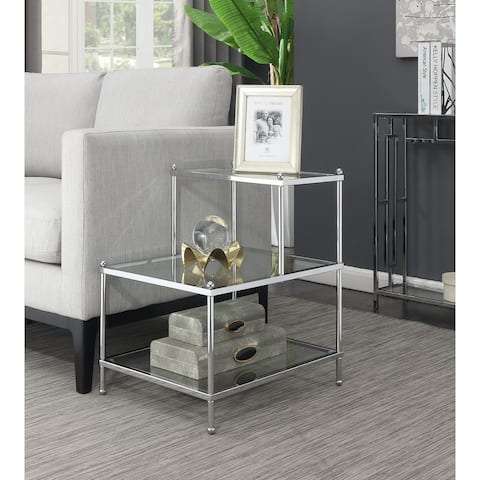 Silver Orchid Farrar Chrome Finish 3-tier Step End Table