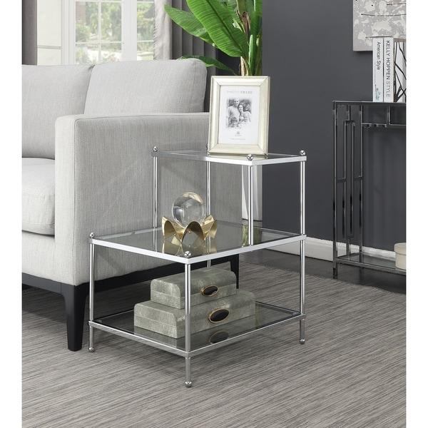Silver Orchid Farrar Chrome Finish 3-tier Step End Table