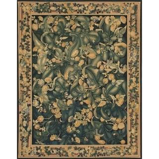 eCarpetGallery French Tapestry Black/Dark Green Wool Handmade Sumak Area Rug