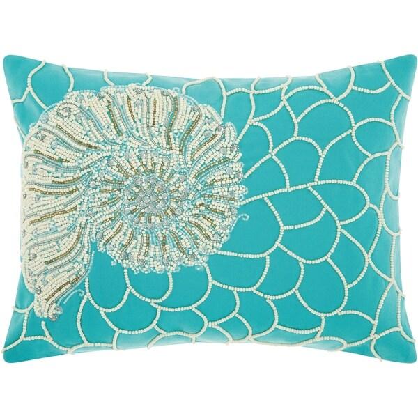 Shop Mina Victory White Turqoise Beaded Shell Outdoor Throw Pillow