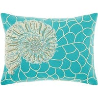 Mina Victory White/Turqoise Beaded Shell Outdoor Throw Pillow (12-Inch X 16-Inch)