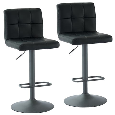 Fusion-Adjustable Height Faux Leather Stool, Set of 2