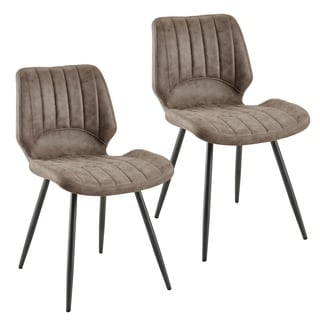 Aspira-Faux Suede Side Chair, Set of 2