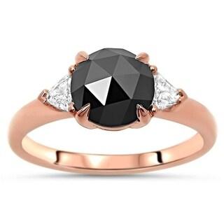 Noori Black Rose Cut Round Diamond Engagement Ring 14k Rose Gold
