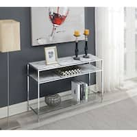 Convenience Concepts Gold Coast Carrara Chrome Metal and Glass Console Table