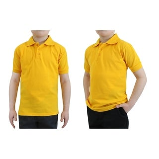 Galaxy By Harvic Boy's Gold Short Sleeve School Uniform Polo Shirts - Sizes 4-20