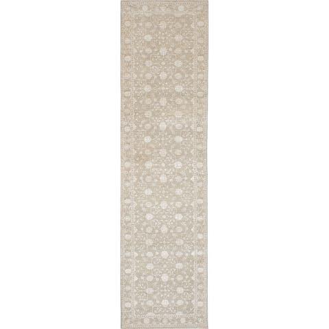 ECARPETGALLERY Hand-knotted Silk Shadow Beige Rug - 3'0 x 11'10