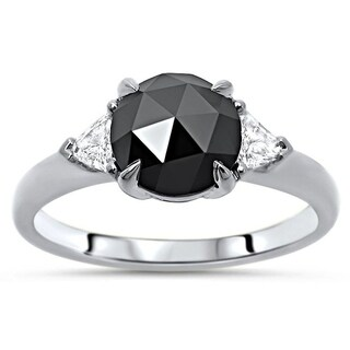 Noori Black Rose Cut Round Diamond Trillion 3 Stone Engagement Ring 14k White Gold