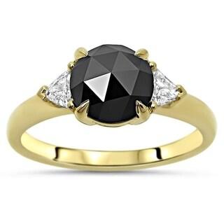 Noori Black Rose Cut Round Diamond Trillion 3 Stone Engagement Ring 14k Yellow Gold