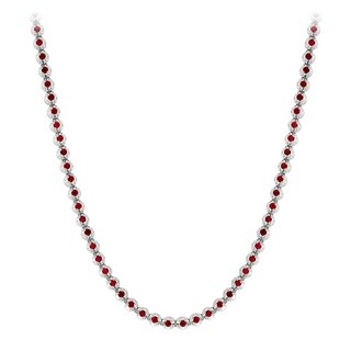 Ladies Unique 10K Gold Ruby Chain Necklace by Luxurman