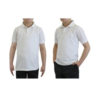 Galaxy By Harvic Boy's White Short Sleeve School Uniform Polo Shirts - Sizes 4-20 (More options available)