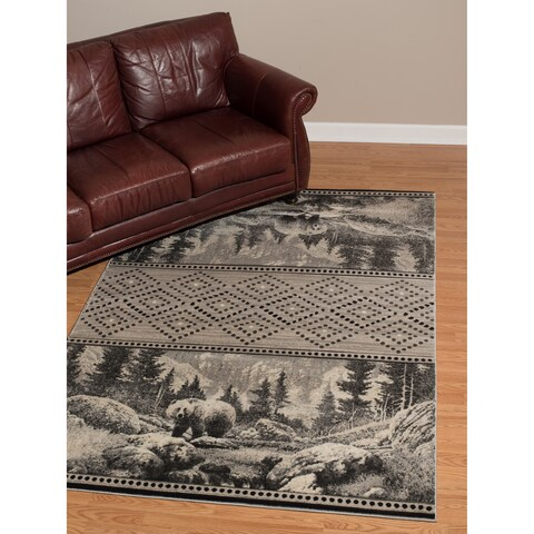 """Westfield Home Plutarch CEM Magnus Hand Carved Silver Accent Rug - 1'10"""" x 2'8"""""""