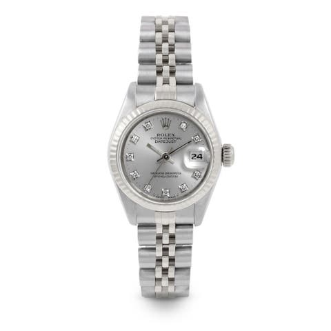 Pre-Owned Rolex 26mm Ladies Datejust Watch - 6917 Model - Stainless Steel - Silver Diamond Dial - Fluted Bezel - Jubilee Band