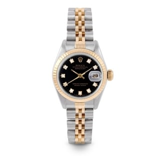 Pre-Owned Rolex 26mm Ladies Datejust Watch - 6917 Model - Steel & Yellow Gold - Black Diamond Dial - Fluted Bezel - Jubilee Band