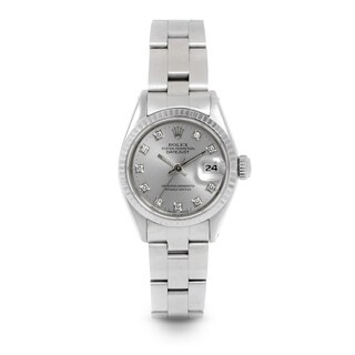 Pre-Owned Rolex 26mm Ladies Datejust Watch - 6917 Model - Stainless Steel - Silver Diamond Dial - Fluted Bezel - Oyster Band