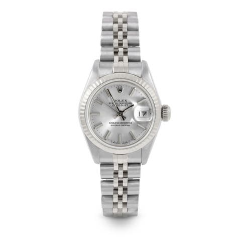 Pre-Owned Rolex 26mm Ladies Datejust Watch - 6917 Model - Stainless Steel - Silver Stick Dial - Fluted Bezel - Jubilee Band