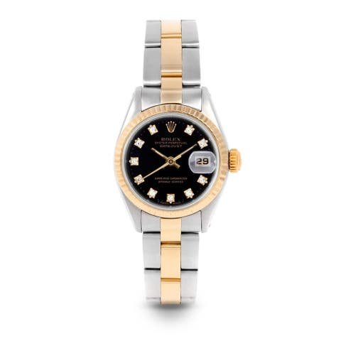 Pre-Owned Rolex 26mm Ladies Datejust Watch - 6917 Model - Steel & Yellow Gold - Black Diamond Dial - Fluted Bezel - Oyster Band