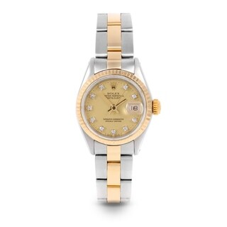 Pre-Owned Rolex 26mm Ladies Datejust Watch - 6917 Model - Steel & Yellow Gold - Gold Diamond Dial - Fluted Bezel - Oyster Band