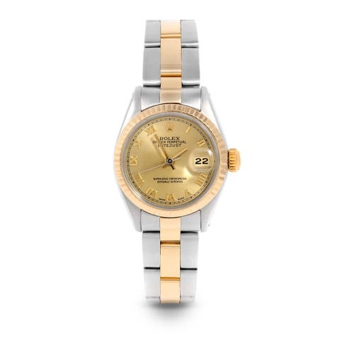 Pre-Owned Rolex 26mm Ladies Datejust Watch - 6917 Model - Steel & Yellow Gold - Gold Roman Dial - Fluted Bezel - Oyster Band