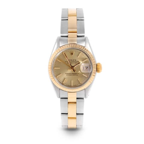 Pre-Owned Rolex 26mm Ladies Datejust Watch - 6917 Model - Steel & Yellow Gold - Gold Stick Dial - Fluted Bezel - Oyster Band