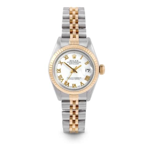 Pre-Owned Rolex 26mm Ladies Datejust Watch - 6917 Model - Steel & Yellow Gold - White Roman Dial - Fluted Bezel - Jubilee Band