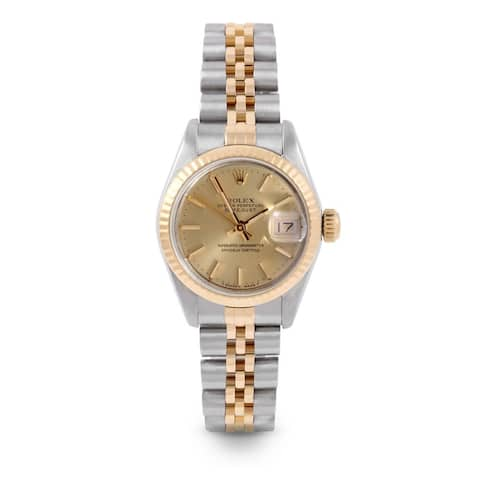 Pre-Owned Rolex 26mm Ladies Datejust Watch - 6917 Model - Steel & Yellow Gold - Gold Stick Dial - Fluted Bezel - Jubilee Band