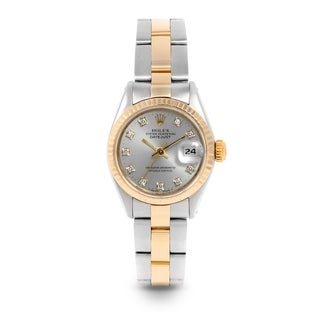 Pre-Owned Rolex 26mm Ladies Datejust Watch - 6917 - Steel & Yellow Gold - Silver Diamond Dial - Fluted Bezel - Oyster Band