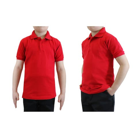 Galaxy By Harvic Boy's Red Short Sleeve School Uniform Polo Shirts - Sizes 4-20