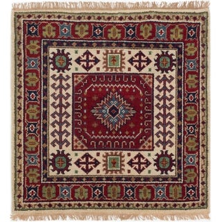 eCarpetGallery Hand-knotted Royal Kazak Cream, Red Wool Rug - 3'3 x 3'4