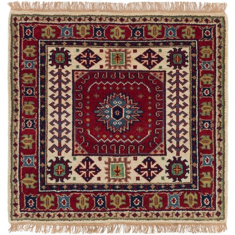 ECARPETGALLERY Hand-knotted Royal Kazak Red Wool Rug - 3'3 x 3'3