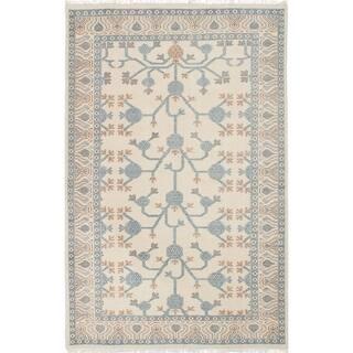eCarpetGallery Hand-knotted Stonewash Ushak Cream Wool Rug - 5'5 x 8'2
