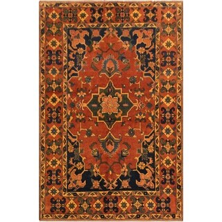 Kafkaz Peshawar Blossom Rust/Drk. Blue Hand-Knotted Rug - 5 ft. 1 in. x 7 ft. 1 in.