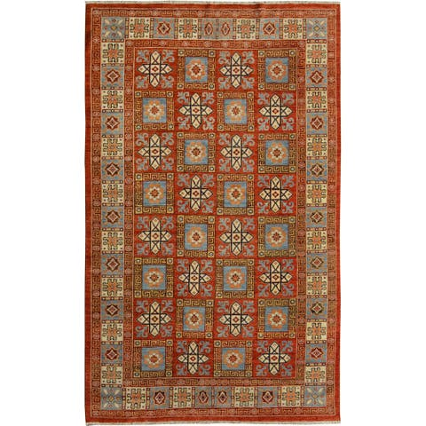 Kafkaz Peshawar Abbey Rust/Lt. Blue Hand-Knotted Rug (5'11 x 9'2) - 5 ft. 11 in. x 9 ft. 2 in. - 5 ft. 11 in. x 9 ft. 2 in.