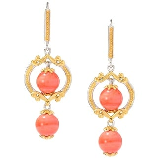 Michael Valitutti Palladium Silver Salmon Coral Bead Drop Earrings