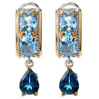 Michael Valitutti Palladium Silver Swiss Blue & London Blue Topaz Dangle Earrings