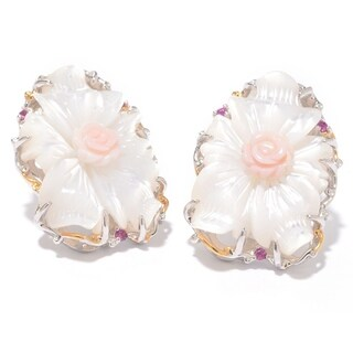 Michael Valitutti Palladium Silver Mother of Pearl, Conch Shell & Ruby Flower Stud Earrings