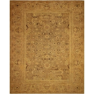 Vintage Antique Caitlyn Tan/Tan Hand-Knotted Rug (13'2 x 16'8) - 13 ft. 2 in. x 16 ft. 8 in.