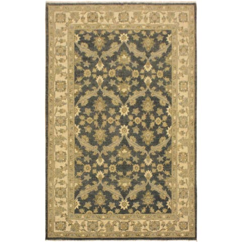 Kafkaz Peshawar Jack Charcoal/Blue Hand-Knotted Rug (4'1 x 6'4) - 4 ft. 1 in. x 6 ft. 4 in. - 4 ft. 1 in. x 6 ft. 4 in.