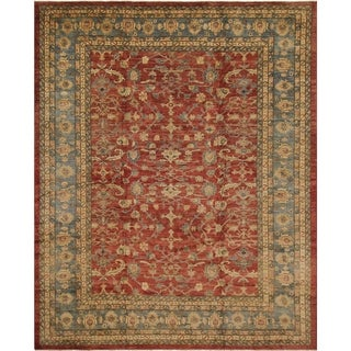 Kafkaz Peshawar Dalila Red/Lt. Blue Hand-Knotted Rug (12'2 x 15'8) - 12 ft. 2 in. x 15 ft. 8 in.
