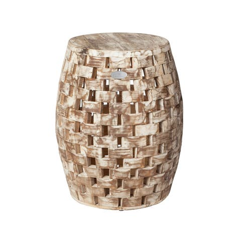 Grapevine Recycled Wood Garden Stool - N/A